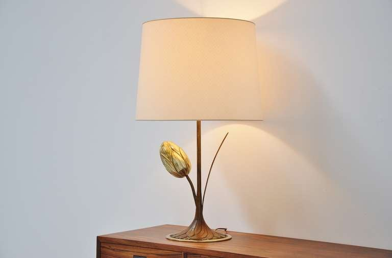 Late 20th Century Willy Daro Attributed Brass Tulip Table Lamp Belgium, 1970 For Sale