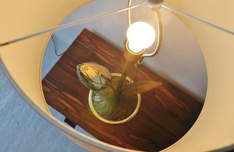 Willy Daro Attributed Brass Tulip Table Lamp Belgium, 1970 For Sale 1