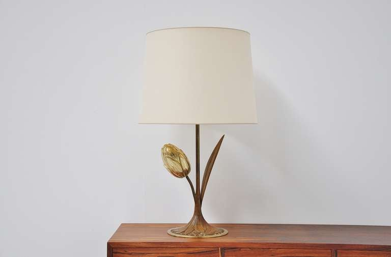 Willy Daro Attributed Brass Tulip Table Lamp Belgium, 1970 For Sale 3