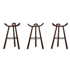 Spanish Brutalist Bar Stools In Stained Oak Set Of 3, Spain 1950