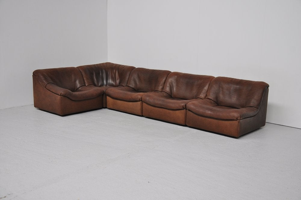 Thick Leather Sofa : De Sede DS46 element sofa in thick brown neck leather at 1stdibs