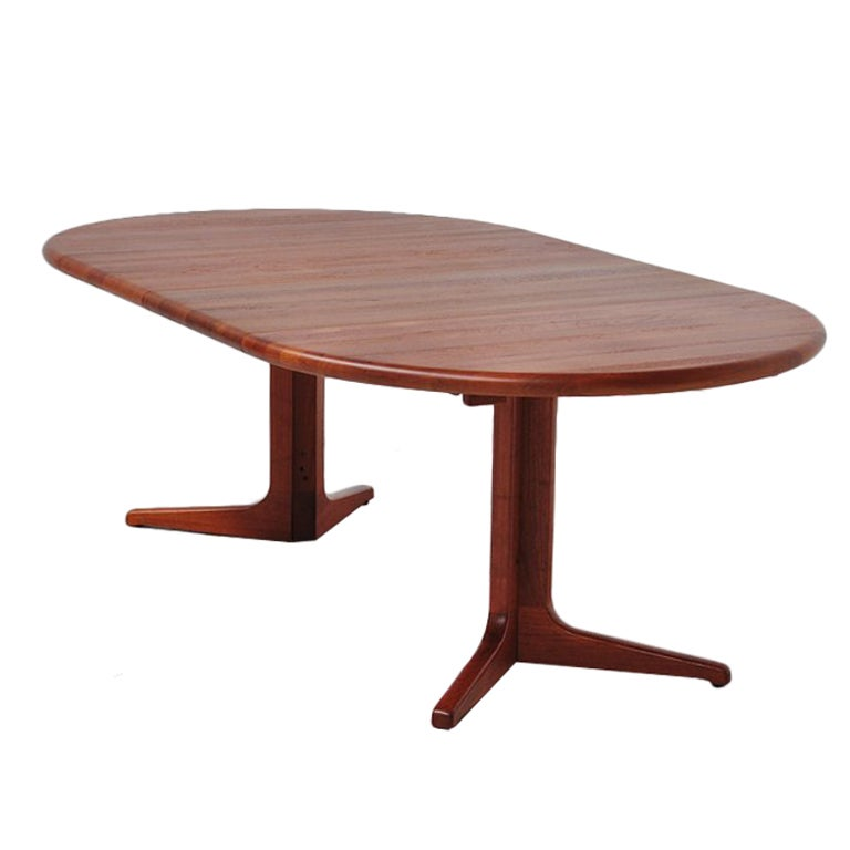 Glostrup Danish Oval Dining Table Teak 2 Extension Leaves At 1stdibs