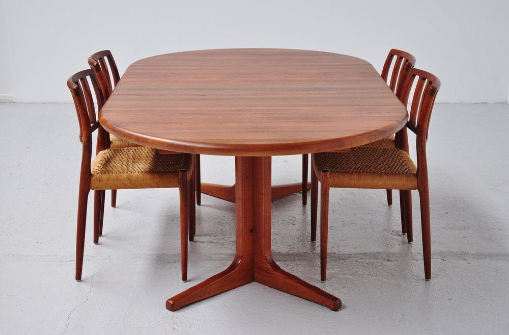 glostrup danish oval dining table teak 2 extension leaves