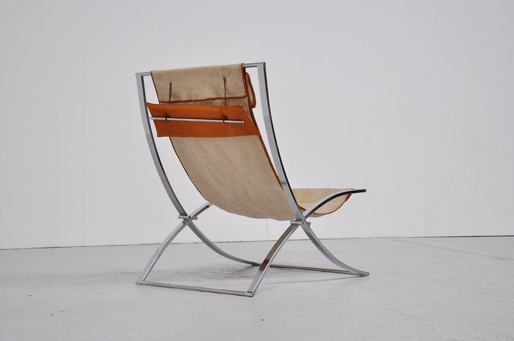marcello cuneo luisa lounge chair canvas chrome folding