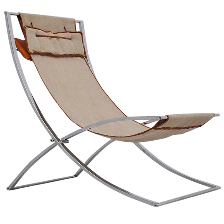 Marcello Cuneo Luisa lounge chair Canvas chrome folding chair at 1stdibs