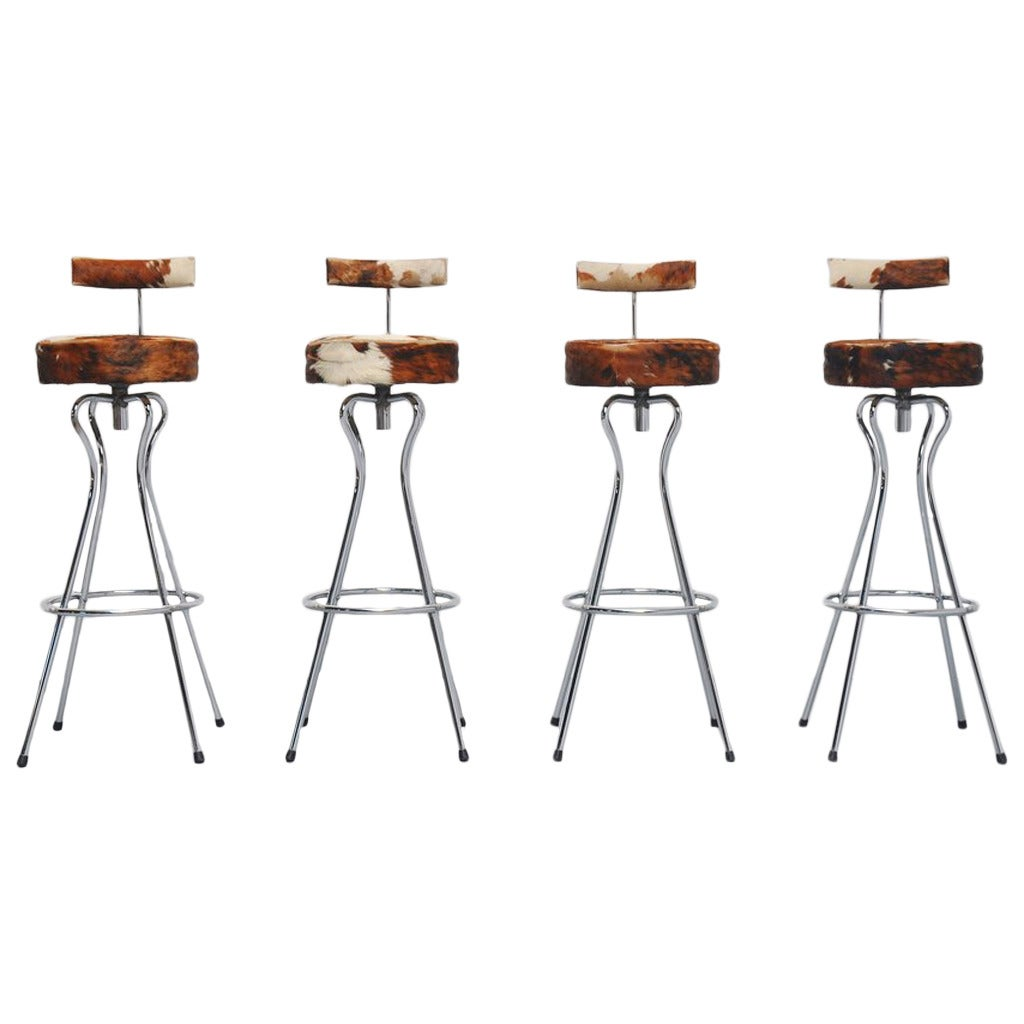 Cow Skin Bar Stools Made In Germany 1965 At 1stdibs