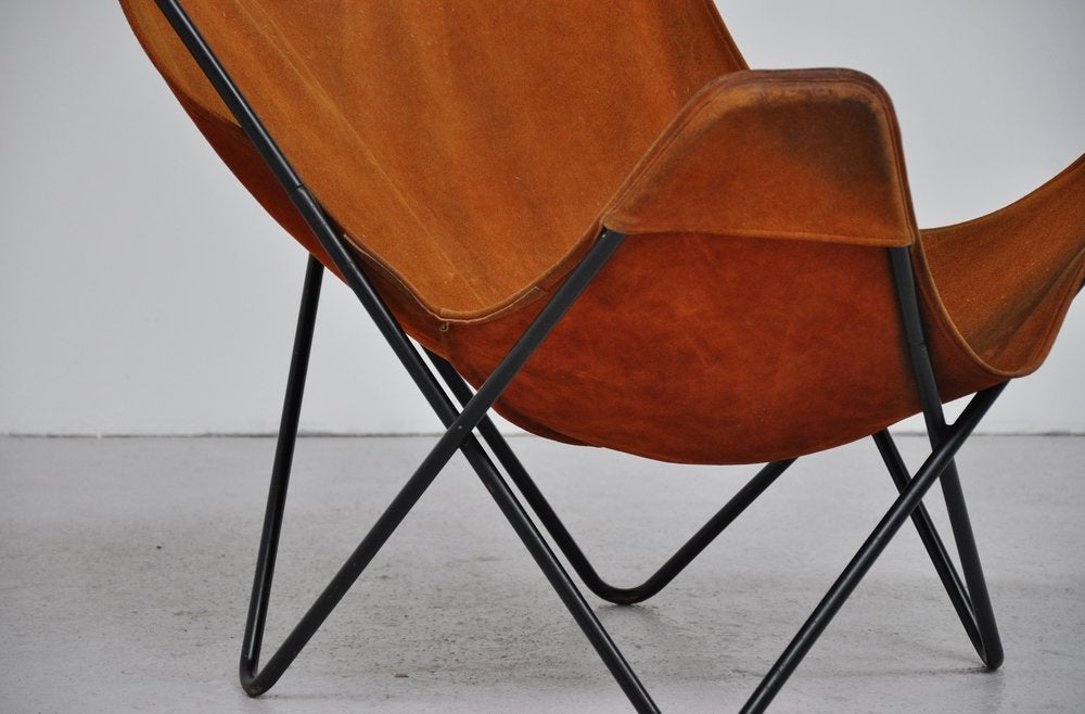 Hardoy Butterly Chair In Cognac Suede Knoll At 1stdibs
