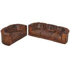De Sede DS11 Patchwork Element Sofa Pair in Brown Leather