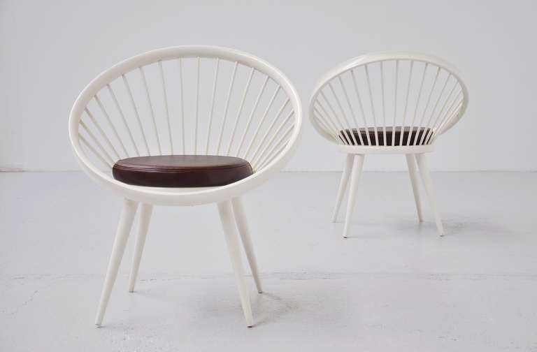 Yngve Ekstrom Circle Chairs for Swedese White Lacquered Wood at 1stdibs
