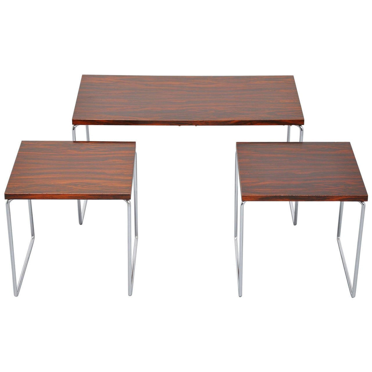 Long nesting table set in rosewood metal at stdibs