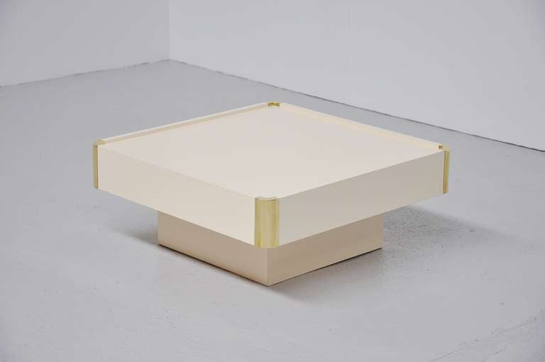 Nice Small Brass And Laminated Coffee Table Belgium 1970