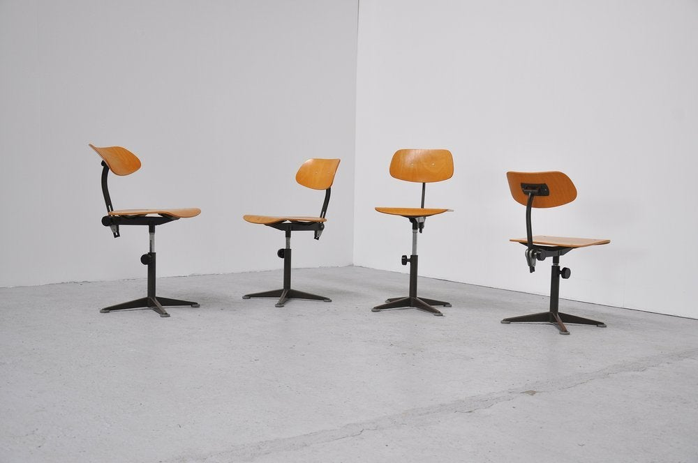 Very Nice Industrial Drafting Chair Set Designed By Friso Kramer For Ahrend  De Cirkel 1963.