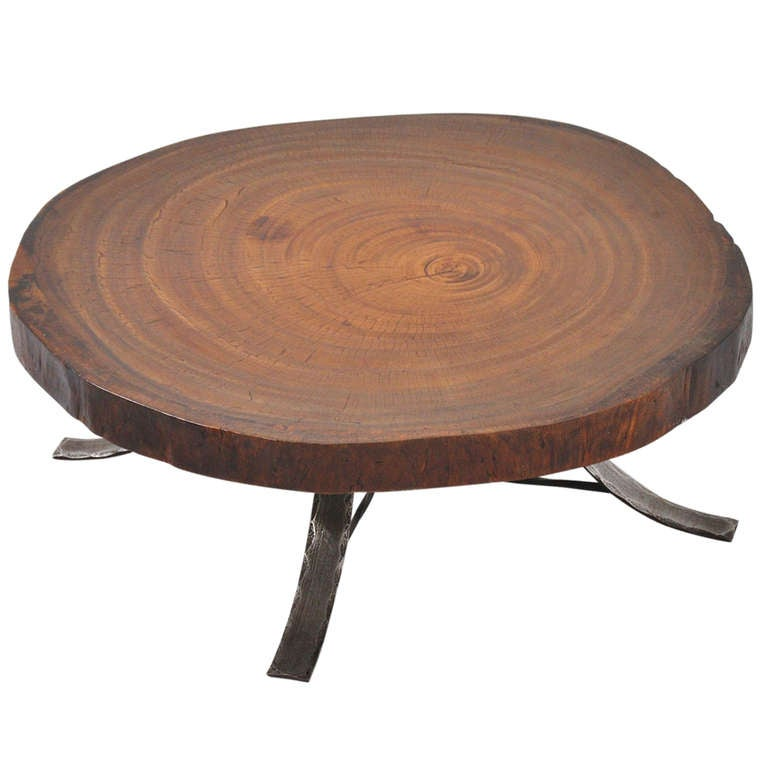 Tree Coffee Table Dk3: Tree Trunk Huge Coffee Table With Wrought Iron Base 1960