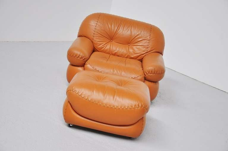 Mobil Girgi Italian Lounge Chair Cognac Leather 1970 At
