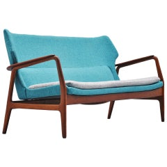 Bovenkamp Wingback Lounge Sofa Blue Aksel Bender Madsen, 1960