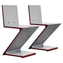 Gerrit Rietveld Zig Zag chair pair G.A. v.d. Groenekan 1961
