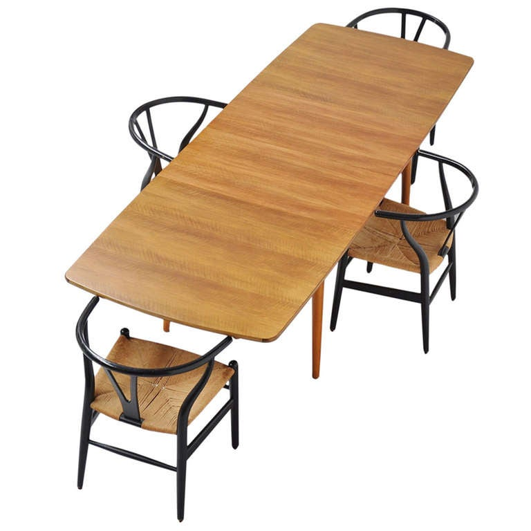 Dining Table With Three Extension Leaves And Six Matching