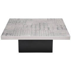 Heinz Lilienthal Etched Graphic Coffee Table, Germany, 1970