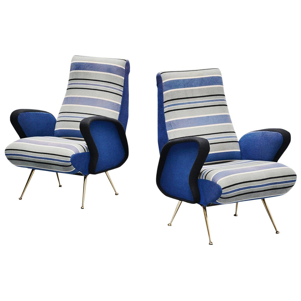 Arflex style lounge chairs with original fabric italy for 1950s chair styles