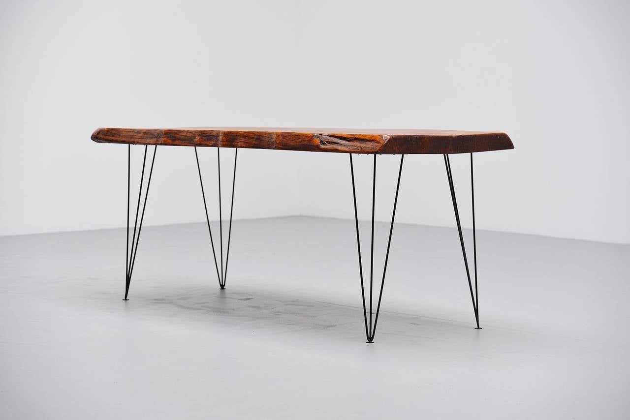 Tree trunk dining table - Tree Trunk Dining Table With Hairpin Legs Holland 1950 3