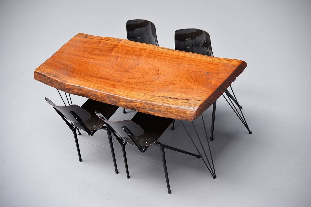 Tree Trunk Dining Table with Hairpin Legs, Holland, 1950 at 1stdibs