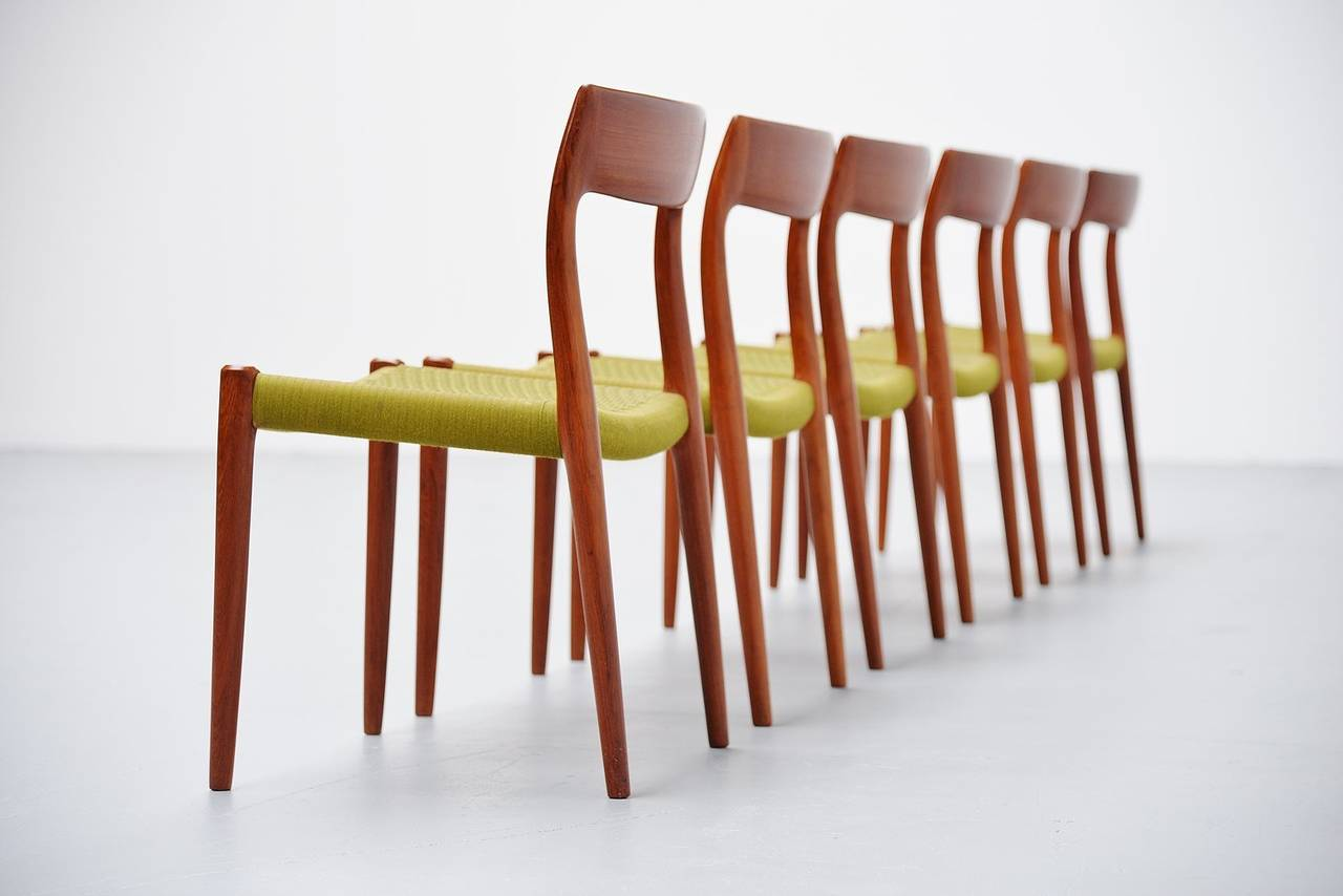 Niels Moller Model 77 Teak Dining Chairs Denmark 1959 At 1stdibs