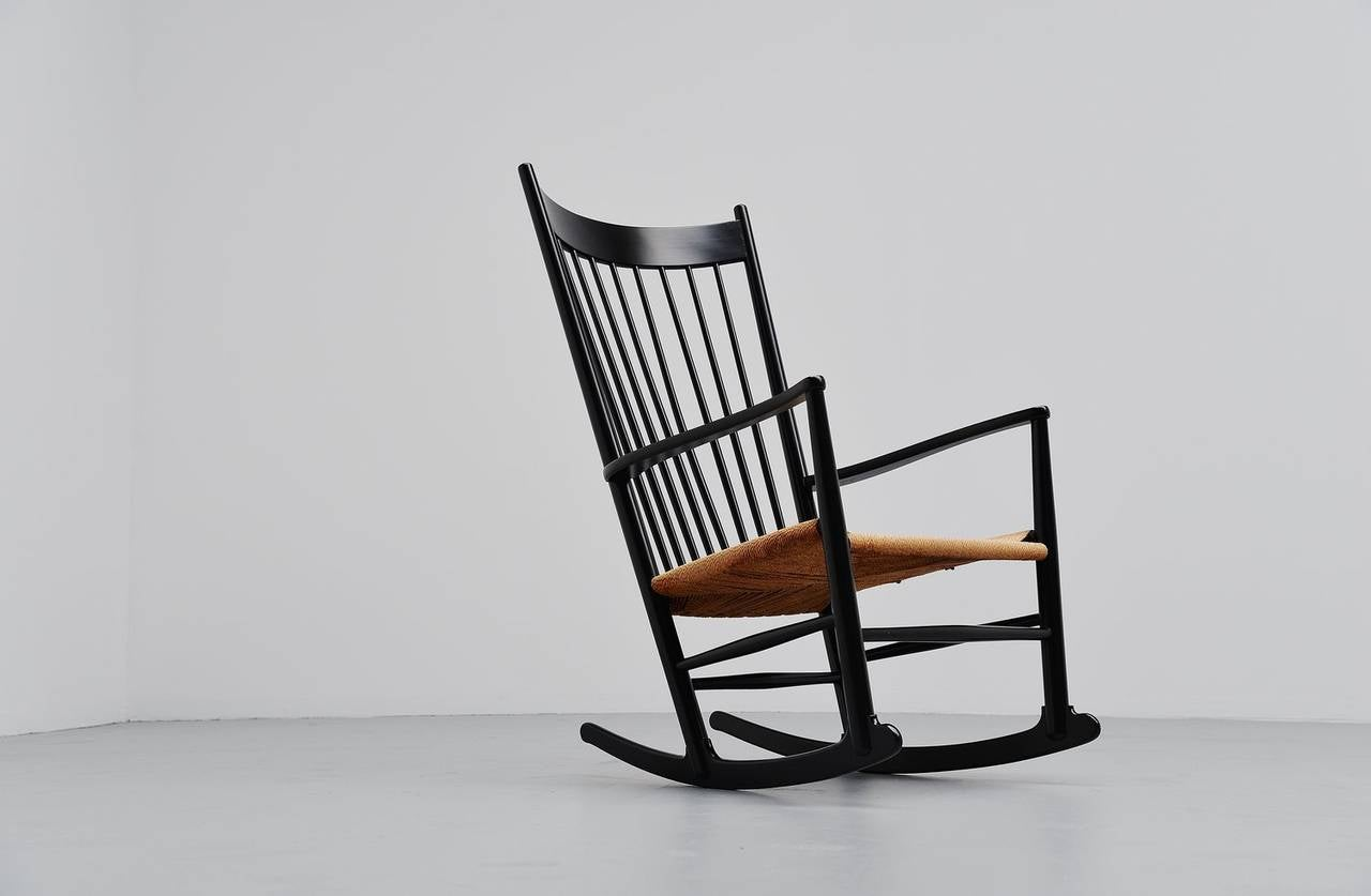 Hans J Wegner J16 Rocking Chair For FDB Møbler Denmark 1962 Image 2. Full resolution‎  portraiture, nominally Width 1280 Height 837 pixels, portraiture with #68371D.