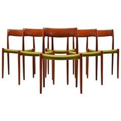 Niels Moller Model #77 Teak Dining Chairs, Denmark, 1959