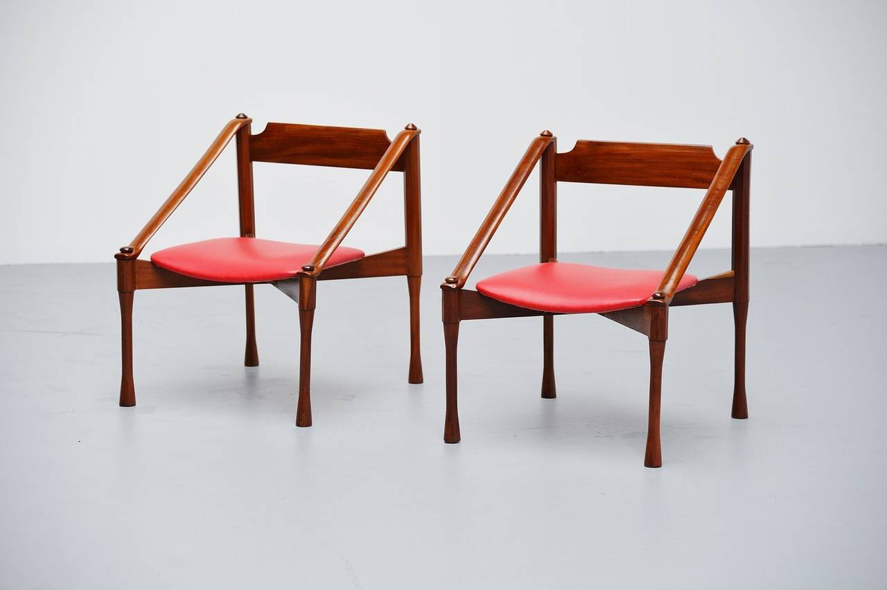 Mid-Century Modern Pair of Giulio Moscatelli Lounge Chairs, Italy, 1950 For Sale