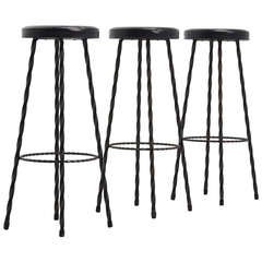 French Wrought Iron Bar Stools, 1950 in the Manner of Mategot