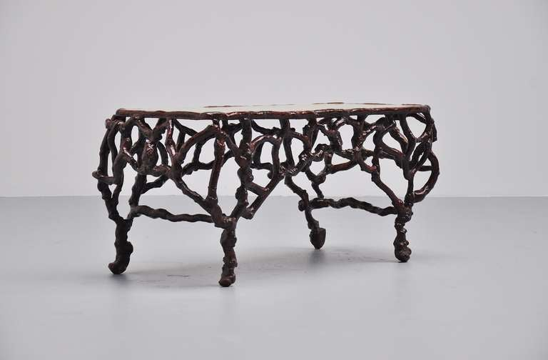 Tree Trunk Coffee Table With Marble Top 1960 At 1stdibs