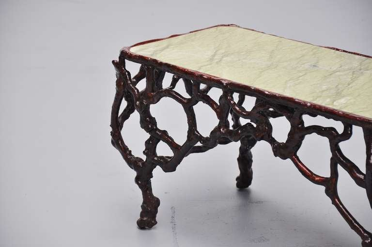 Tree trunk coffee table with marble top 1960 at 1stdibs Tree trunk coffee table glass top