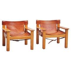 Pair of Bernt Petersen Lounge Chairs, Sweden, 1970