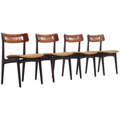 Brazilian Dining Chairs with Cognac Leather and Cane, 1950