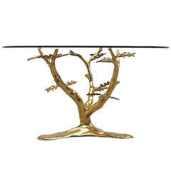 Willy Daro Brass Coffee Table with Tree Form Base 1970