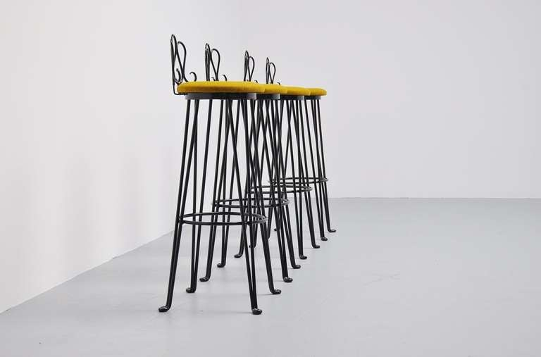 french wrought iron bar stools attributed to matiheu mategot 3 - Wrought Iron Bar Stools