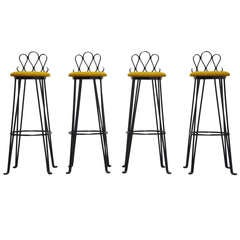 French Wrought Iron Bar Stools 1960 Attributed to Matiheu Mategot