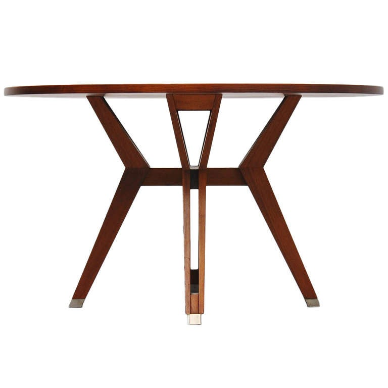 Ico Parisi MIM Round Dining Table In Walnut 1958 At 1stdibs