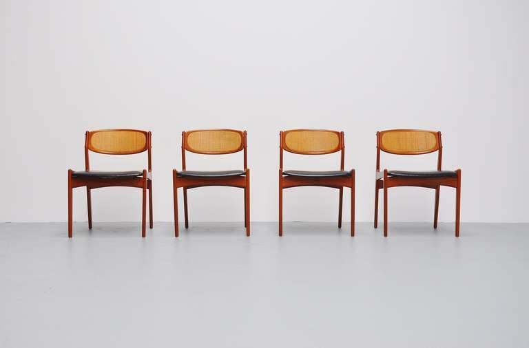Danish teak dining chair with cane backs 1960 at 1stdibs