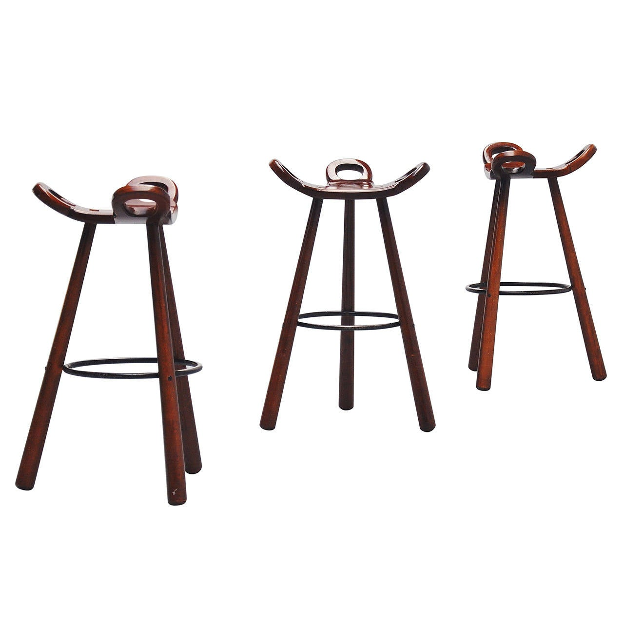 Wonderful image of Set of Three Spanish Brutalist Stools Marbella 1970 at 1stdibs with #6B352A color and 1280x1280 pixels