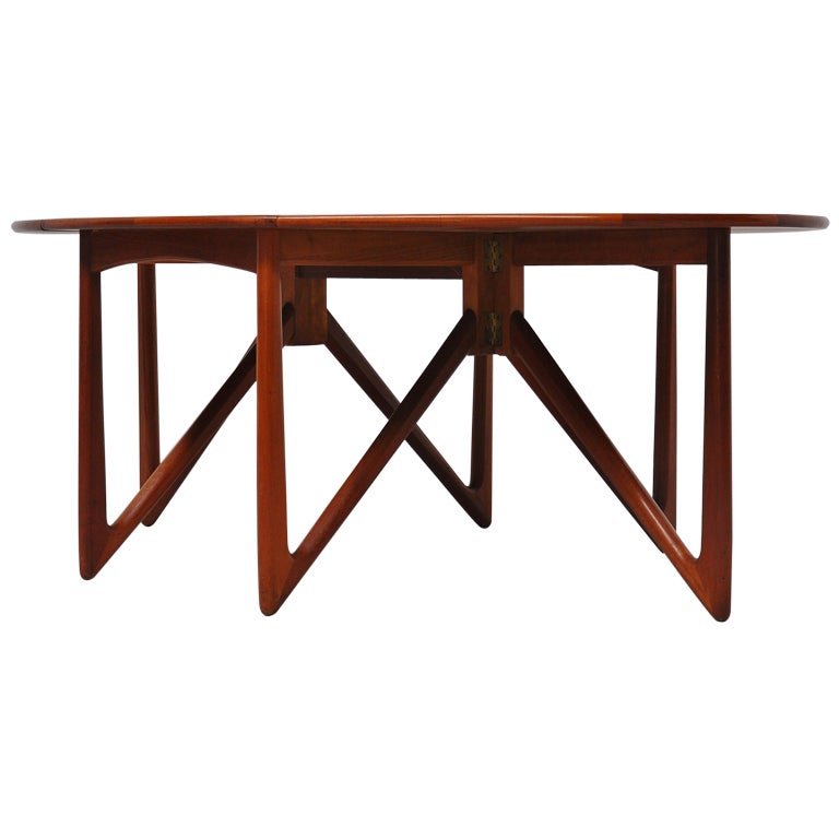 Kurt ostervig drop leaf dining table in solid teak 1960 at for Drop leaf dining table