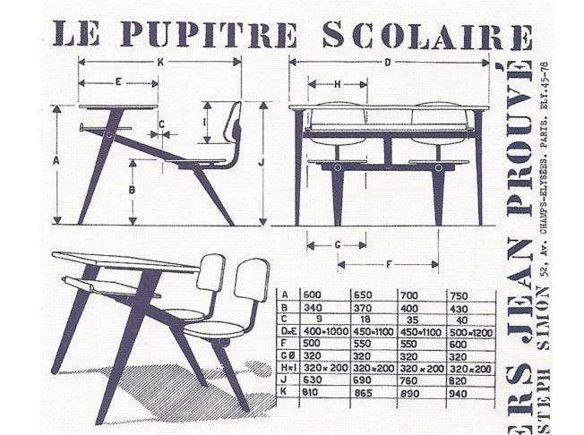Jean Prouve Compass school desk for Ateliers Jean Prouve 10