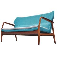 Bovenkamp Wingback Lounge Sofa Blue 1960