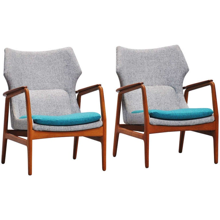 Pair Of Bovenkamp Wingback Chairs With New Upholstery