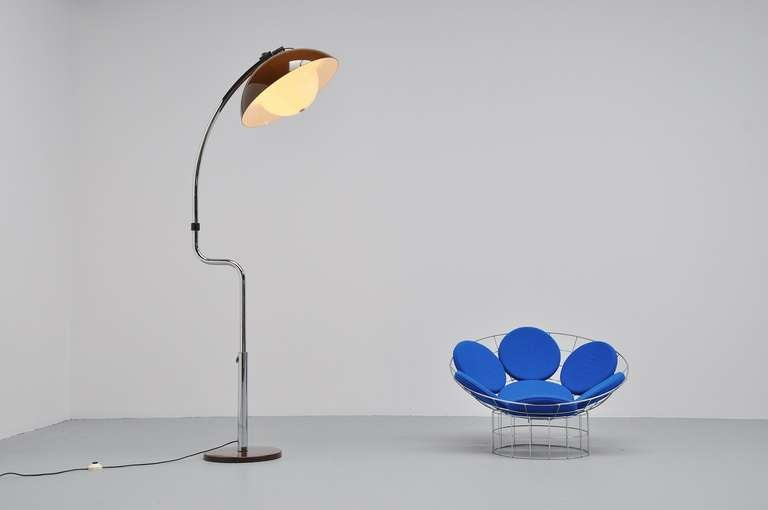 Harvey Guzzini Chrome And Lucite Arc Floor Lamp 1970 At
