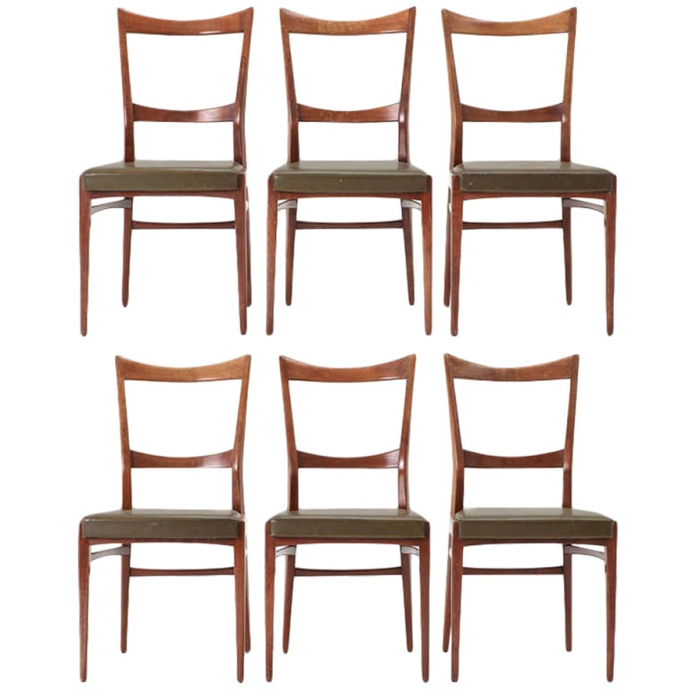 Set Of 6 Italian Dining Chairs In Original Nice Patina