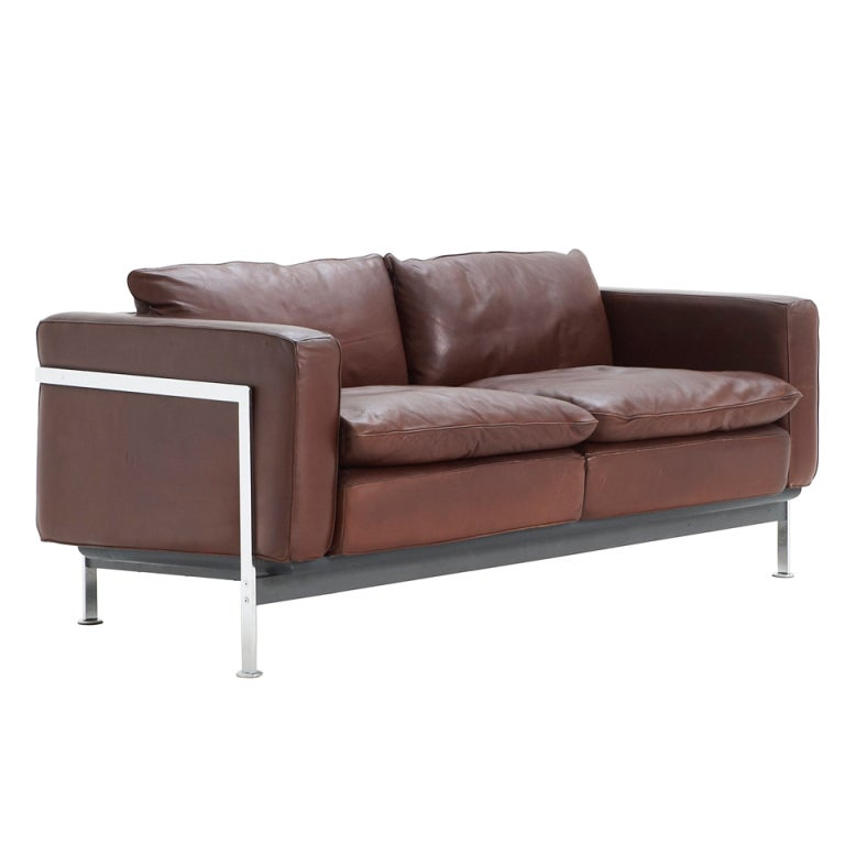 Brown Leather 2 Seater Sofa By Robert Haussmann For De