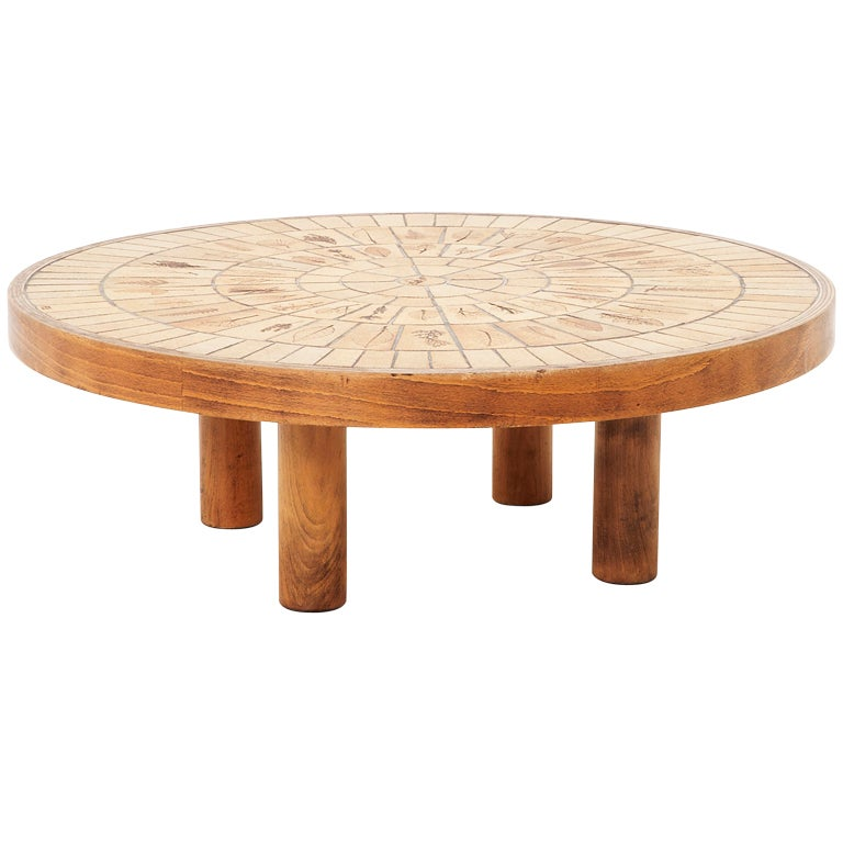 Roger Capron 39 Garrigue 39 Series Round Coffee Table With Porcelain Tile Top At 1stdibs