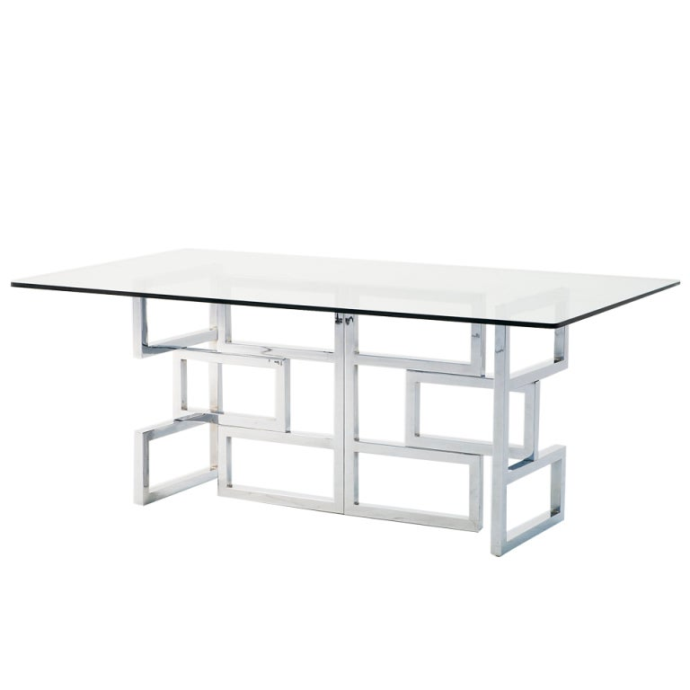 Very Exclusive Sculptural Chrome Base Dining Table With