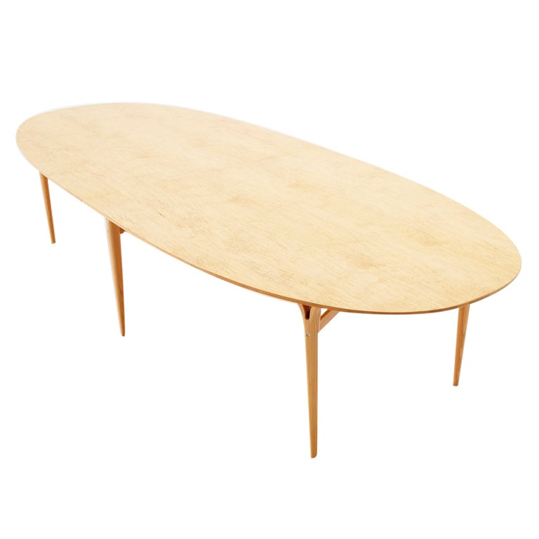 Large Solid Birch Oval Conference Table By Piet Hein And